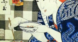 タピオカを食べる女子の浮世絵